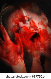 A woman is screaming with red blood on a glass. Her hand is asking for help. Use it for a horror or murder concept.