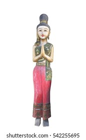 woman sculpture statue thai isolate on white backgroud