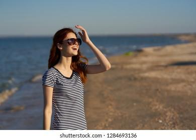Woman at sea beach sand summer