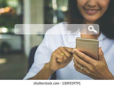Woman Searching Browsing Internet Data Information Networking Concept .Social media concept