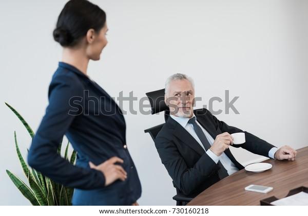 Woman Secretary Strict Business Suit Flirts Stock Photo Edit Now