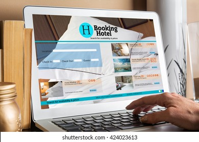 Woman seeking at booking room Responsive Devices with website. Travel and tourism concept