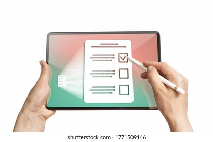 Woman selects the right answer in questionnaire on her digital tablet. Concept of online testing, questionnaires, voting. Isolated on white
