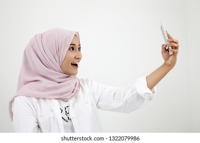 woman selfie on the white background