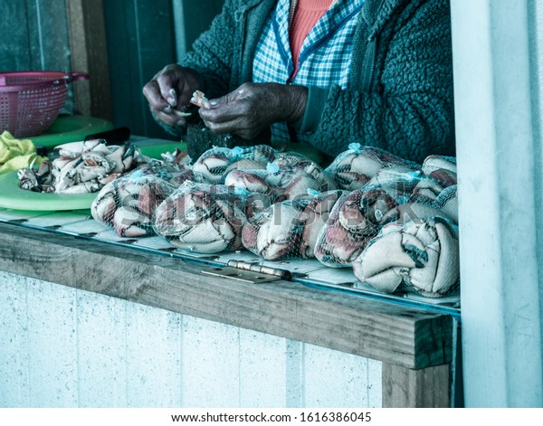 A woman selling crabs in a fisherman village.