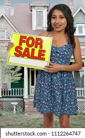 Woman selling something by advertising with a for sale sign