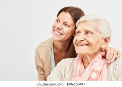 Woman and seniors are looking to the side with a confident smile