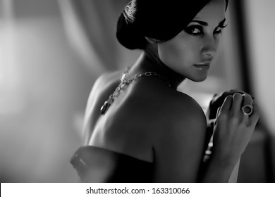 Woman sexy black white photo