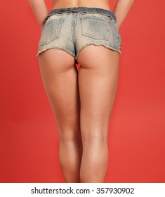 Woman sexy body in jeans texas shorts