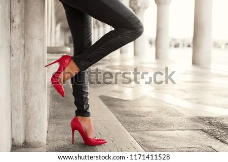 Стоковая фотография «<b>Woman</b> Sexy Legs Standing By Wall ...