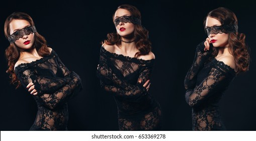 Woman in Sexy lingerie on black background. Perfect ass and beautiful makeup. Erotic photoshoot charming attractive woman with a blindfold mask on her face