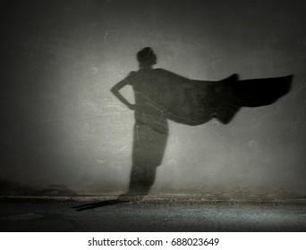 Woman shadow on wall. Mixed media