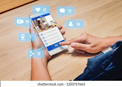 woman share view of beauty blogger review online with mobile apps on wood table at home,online influencer technology in daily lifestyle,Digital age concept