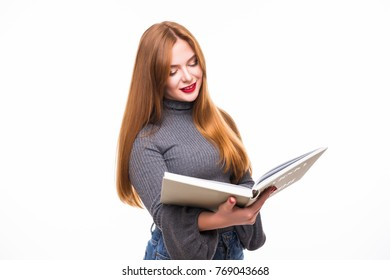 woman in shirt holding books over white background