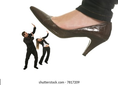 woman shoe stepping on business men and woman concept on white
