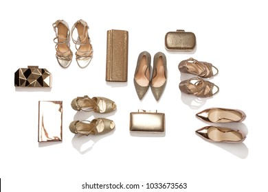 Woman Shoes and Handbag isolated on white background