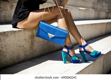 woman with a shoes in a urban outdoor