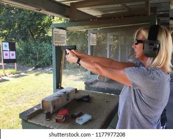 Woman at a shooting range