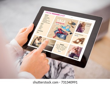 Woman shopping for clothes online.