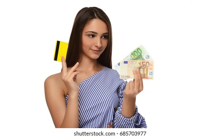Woman in shopping concept on white. woman holding credit card and euros