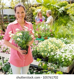 Woman shopping at flower shop green house garden centre
