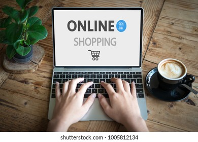 Woman shopping on internet online shopping concept