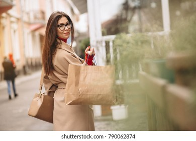 Woman shopping outside
