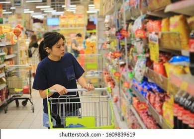 woman shopping in the thailand supermarket