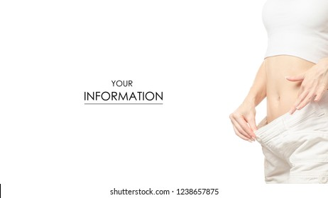 Woman in shorts is thin big size weight loss centimeter pattern on a white background isolation