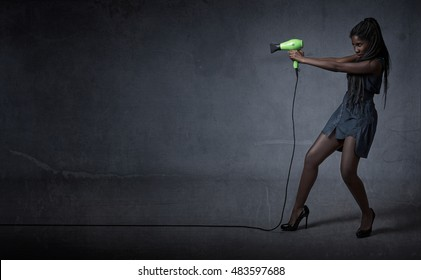 woman shot whit hair phon, dark background