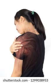 woman shoulder muscle injury white background shoulder pain