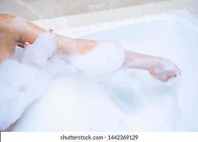 woman shower and relaxing in bathtub,shower