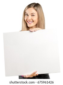 woman showing blank signboard, isolated on white