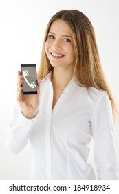 Woman showing empty display of her touch mobile phone
