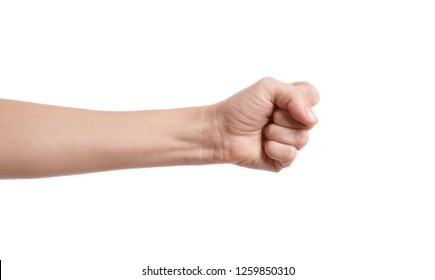 Woman showing fist on white background, closeup of hand