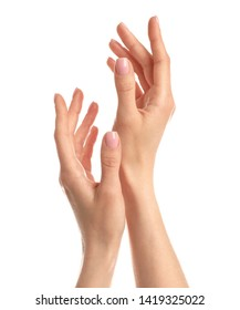 Woman showing hands on white background, closeup