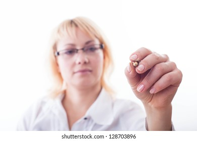 Woman showing her hand ready for writing.