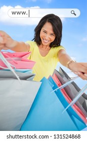 Woman showing her shopping bags under address bar on blue sky background