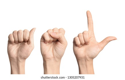 Woman showing letters ASL on white background. Sign language