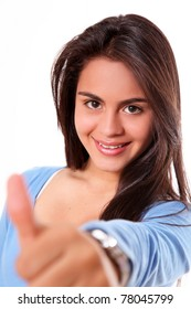woman showing ok over white background. teen