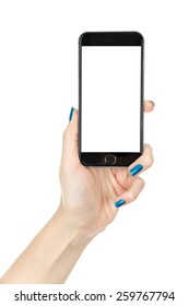 Woman showing smart phone in iphon style with isolated screen, isolated on white
