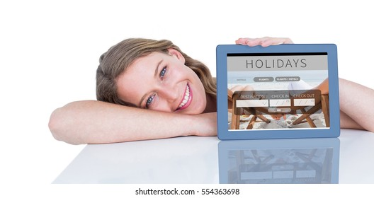Woman showing tablet pc against holidays booking app