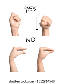 Woman showing words Yes and No on white background, closeup of hands. Sign language