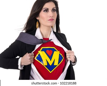 A Woman shows her Super Mother Superhero Uniform underneath her street clothes