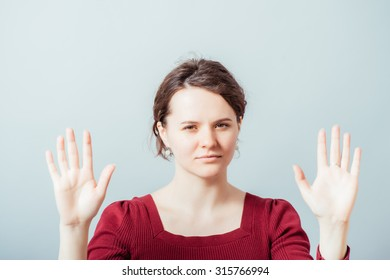 Woman shows stop