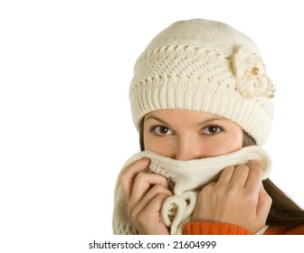 The woman sick of a flu isolated on white background