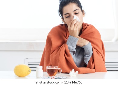 A woman was sick with a runny nose fever.