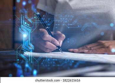 Woman signs contract. Technology hologram. Multiexposure. Internet business concept.