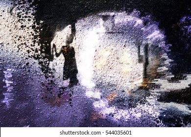 Woman silhouette against the bright background (double exposure)