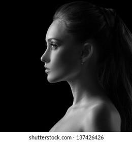 Woman silhouette in Black & White